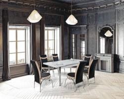 Set masa OLIMPIA cu 6 scaune culoare bej